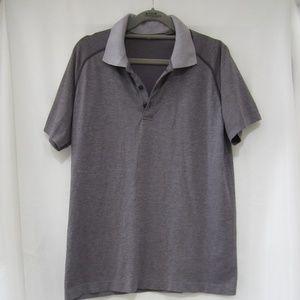 Lululemon M Metal Vent Purple Stripe Polo Shirt